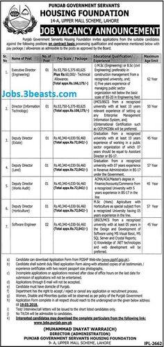 Job Vacancy Announcement Punjab Government Servants Housing Foundation