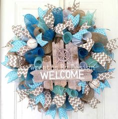 Lake House Welcome Door Wreath-Beach Welcome by WreathsbyDesign1