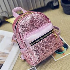 women backpacks leather 2017 School mini backpacks for girls Sequins Backpack for Ladies mochila feminina Cute Mini Backpacks, Stylish Backpacks, Girl Backpacks, Leather Backpacks, School Backpacks, Leather Bags, Pu Leather, Fashion Bags, Fashion Backpack