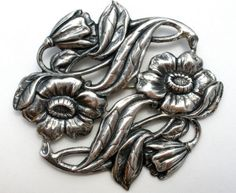 Art-Nouveau-Flower-Brooch-Sterling-Silver-Floral-Pin-Wedding-Sash-Ornament