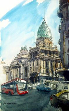 Urban Sketchers Buenos Aires - Beautiful sketch of an amazing city Travel Sketchbook, Art Sketchbook, Urban Sketchers, City Sketch, Travel Drawing, Architecture Drawings, Watercolor Sketch, Drawing Sketches, Illustrations