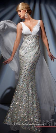 Tony Bowls Elegant Embellished Gown..luv the flowing chiffon attachment
