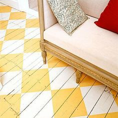 Checkerboard painted floor (diagonal orientation)