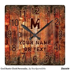 Shop Cool Rustic Clock Personalized with YOUR TEXT created by YourSportsGifts. Personalize it with photos & text or purchase as is! Rustic Wall Clocks, Rustic Walls, Rustic Bathroom Decor, Rustic Wall Decor, Masculine Home Decor, Rustic Man Cave, Wall Clock Gift, Man Cave Wall Decor, Cottage Decorating