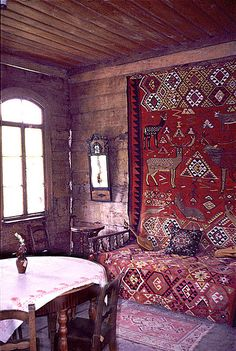 Old russian wooden house interior