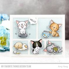 Time to Get Excited — the June Release Countdown Begins NOW – MFT Stamps Kittens And Puppies, Yarn Ball, Mft Stamps, Quick Cards, Clear Stamps, Kittens Cutest, Your Cards, Card Making, Cards