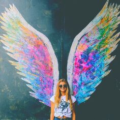 angel wings art images, image search, & inspiration to browse every day. Colette Miller Wings, Artsy Bilder, Sidewalk Chalk Art, Ange Demon, Public Art, Graffiti Art, Picsart, Cute Pictures, Cute Instagram Pictures