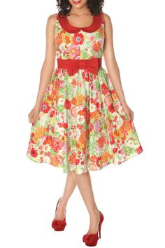 Fully lined artsy floral print dolly dress with contrast peter pan collar and waistband with bow pleated fit and flare skirt. Zipper opening at back. Made in the USA great feeling fabric.  Retro Floral Dress by Retrolicious. Clothing - Dresses - Floral Louisville Kentucky