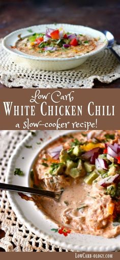 Easy & low carb, this creamy white chicken chili simmers in the slow cooker until you're ready to eat! Just net carbs! From Lowcarb-ol. Keto Crockpot Recipes, Chili Recipes, Slow Cooker Recipes, Low Carb Soup Recipes, Crockpot Ideas, Low Carb Chicken Chili Recipe, No Bean Chili Crockpot, Low Carb Crockpot Chicken, Chicken Meals