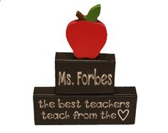 The best teachers teach from heart, Teacher Wood Blocks, Classroom Decor, Teacher Appreciation Gift, Christmas Gift, Teacher Name Sign