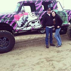 Metal Mulisha lifted truck! Pink zebra stripes. Skulls and bows.
