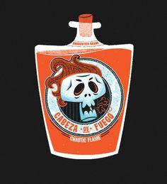 Brokentier by Chris Sandlin, via Behance Crane, Skull And Bones, Skeleton Bones, Prop Design, Retro Illustration, Cute Characters, Box Art, Halloween, Vector Art