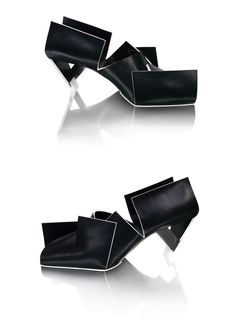 Marloes - Blackfoldedshoe / 2010  Materials: Vegetable tanned leather and stainless steel heel  Blackfoldedshoe is made from a single piece of folded leather and stainless steel heel construction.