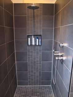 Modern Waterfall Shower with Grey Wall Tile And Mosaic