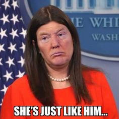 """President Donald Trump's deputy press secretary, Sarah Huckabee Sanders, told reporters at an off-camera press briefing on Thursday that Trump is """"not a liar. Political Satire, Political Views, Political Quotes, Sarah Huckabee Sanders, Trump Cartoons, Funny Cartoons, Just In Case, Donald Trump, Hilarious"""