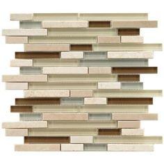 Merola Tile Tessera Piano York 11-3/4 in. x 11-3/4 in. Stone & Glass Mosaic Wall Tile $13.75