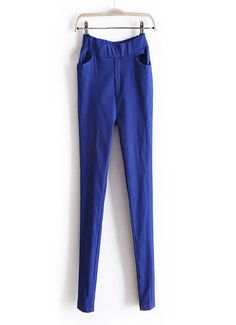 Three colors blue / sapphire blue / white, elastic waist casual pencil pants, free size and comfortable