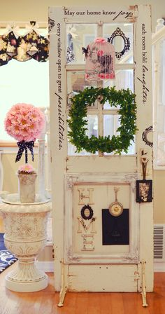 antique door with a message..shelf brackets for feet
