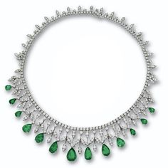 EMERALD AND DIAMOND NECKLACE The line of round diamonds supporting a graduated fringe of foliate design anchored by 13 pear-shaped emeralds weighing approximately 25.50 carats, the diamonds weighing a total of approximately 22.25 carats, mounted in 18 karat white gold, length 151⁄2 inches.