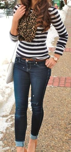 Stripes & Leopard! I love this leopard scarf with a striped top.