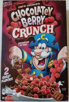 Quaker Oats cap'n crunch's chocolatey berry crunch sweetened corn &oat cereal New Cereal, Crunch Cereal, Granola Cereal, Cap'n Crunch, Cereal Packaging, Types Of Cereal, Starbucks Vanilla, Cereal Killer, Breakfast Of Champions