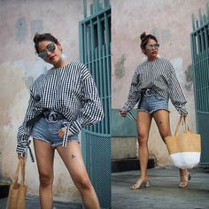 Get this look: http://lb.nu/look/8787279  More looks by Eda Semana: http://lb.nu/luxeandlinen  Items in this look:  Zara  Gingham Top, Gap  Leather Belt, H&M Denim Shorts, Thrift  Woven Straw Bag, Zara  Mules, Zero Uv Mirror Sunglasses, Forever 21  Feather Earrings   #casual #chic #street #gingham #summer #summerfashion #fashion #style #streetstyle