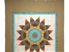 Golden Tan Aqua and Multicolor Radiant Star Quilt Photo 2