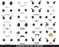 30 PNG Filles - Kawaii caras clip arte, Clip arte gráfica Digital Personal / comercial uso - 300 dpi