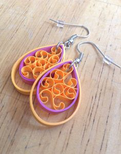 Paper Quilling Jewelry Melon and Raspberry Teardrop by Quillry