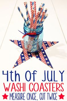 Measure Once, Cut Twice: 4th of July Coasters using #PickYourPlum Washi Tape!