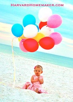Grab a bunch of balloons for fun pictures at the beach! I used this picture in my daughter's first birthday invitation, and it's also such a happy, colorful photo for display in our home! Birthday At The Beach, 1st Birthday Photos, Baby 1st Birthday, First Birthday Parties, First Birthdays, Birthday Ideas, Happy Birthday, Kid Pictures, Special Pictures