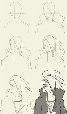 How to draw Deidara from Naruto Manga Naruto Drawings Easy, Naruto Sketch Drawing, Anime Drawings Sketches, Anime Sketch, Cartoon Drawings, Easy Drawings, Cartoon Art, Manga Drawing Tutorials, Drawing Techniques