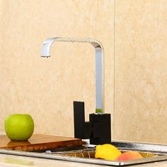 Free Shipping Chrome and Black Creative Design Brass Swivel Kitchen Sinks Faucet 360 degree rotating Kitchen Mixer Tap