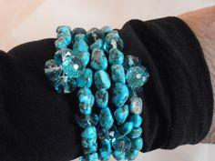Memory Wire Beaded Cuff Bracelet in Turquoise Rock by Beadgarden55, $18.00