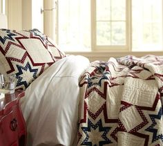 a patriotic quilt from pottery barn. Mr. America would love this. Wait. Did I say that right? No? 'Merca? Oh. Ok then.