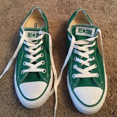 Converse All Star sneakers Green Converse All Star sneakers. Brand new condition. Only worn once-little to big for me. Size 7 men/9 women Converse Shoes Sneakers