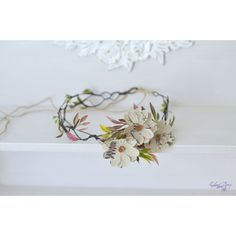 Boho wedding floral crown Linen daisies buttons rustic hair wreath... ($31) ❤ liked on Polyvore featuring accessories, hair accessories, floral garland, floral crown, flower crowns, boho hair accessories and flower garland