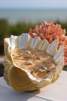 Alliances dans un coquillage, plein de sable. Idéal pour un mariage en bord de mer. Une idée originale pour amener les alliances.