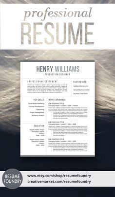 Professional Resume Template. Instant Download - for use with Microsoft Word.