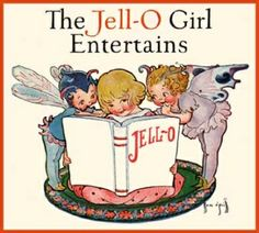 ROSE O'NEILL JELL-O GIRL ILLUSTRATION. THIS IMAGE HAS THE FAIRIES HELPING HER PLAN HER JELL-O PARTY.