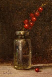 Holiday Red Berries in antique bottle by Carolina Elizabeth http://carolinaelizabeth-art.blogspot.com/
