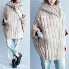 asymmetrical zipper down jacket, hooded, voluminous