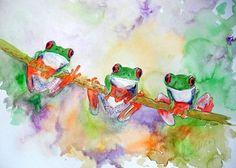 Fröhliches Frosch Trio - alle guten Dinge sind drei, oder: abhängen macht echt Spaß. Meine Interpretation von farbenprächtigen Baumfröschen...