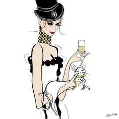 Cat illustration top hat champagne Tiffany La Belle Art & Illustration
