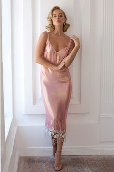 "Pink Silk Nightgown with Lace ""Louisa"" - - BakedChicken Satin Lingerie, Pretty Lingerie, Beautiful Lingerie, Pyjama Satin, Satin Sleepwear, Satin Dresses, Gowns, Pink Nightgown, Pink Silk Dress"
