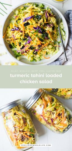 Recipes Snacks Clean Eating Packed with nourishing ingredients, Turmeric Tahini Loaded Chicken Salad is perfect for lunch at home or to make ahead and take on-the-go! A paleo, dairy-free, gluten-free, healthy recipe. Healthy Gluten Free Recipes, Real Food Recipes, Gluten Free Lunches, Dairy Free Salads, Paleo Salad Recipes, Tahini Paste, Clean Eating, Green Veggies, Salad Ingredients