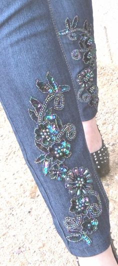 Applique Skinny jean by fawnster on Etsy, $55.00