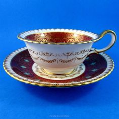 Elegantly Decorated Deep Red & Gold with Blue Flowers Wedgwood Tea Cup & Saucer