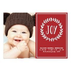 A cute holiday photo card for baby's first Christmas. This festive red and white birth announcement features a pretty wreath and room for one photo. Holiday Birth Announcement, Birth Announcement Photos, Birth Announcements, Newborn Announcement, Babies First Christmas, Christmas Baby, Merry Christmas, Newborn Christmas Photos, Christmas Photo Cards