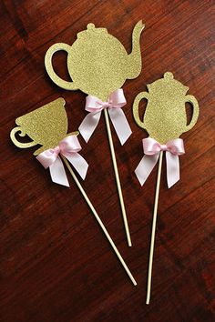Super cute tea party centerpiece sticks.  A must have for a little girl's tea party!  Confetti Momma